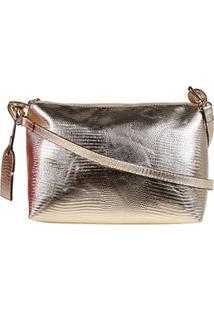 Bolsa Shoestock Mini Bag Lezard Transversal Média Feminina - Feminino-Dourado