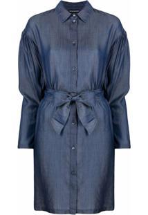 Emporio Armani Vestido Jeans Com Amarração Na Cintura - Azul