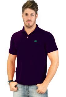 Camisa Polo Hugo Blanc Piquet Roxo 949