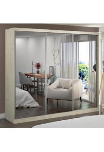 Guarda-Roupa Casal 3 Portas Com 3 Espelhos 100% Mdf 7318E3 Marfim Areia - Foscarini