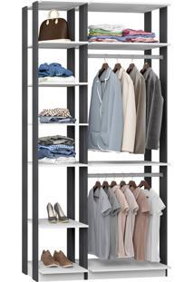Closet Com 2 Cabideiros Branco E Espresso Lilies Mã³Veis - Branco/Cinza/Multicolorido - Dafiti
