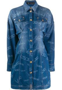 Versace Vestido Jeans Com Recortes - Azul