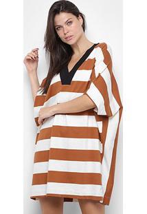 Vestido Osklen Maxi Ribana Stripe - Feminino-Branco+Marrom