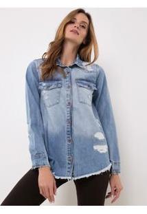 Camisa Jeans Com Barra Desfiada