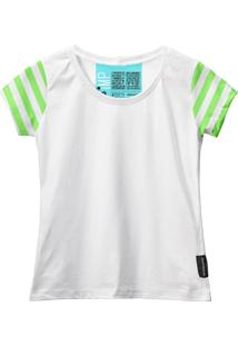 Camiseta Baby Look Feminina Algodão Listrada Estilo Moda Azul-Preto G Branco - Kanui