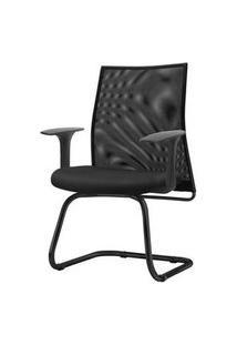 Cadeira Liss Com Braco Fixo Assento Courino Base Fixa Preta - 54670 Preto