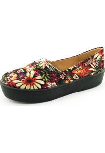 Tênis Flatform Quality Shoes Floral Sola Preta