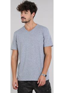 Camiseta Masculina Básica Manga Curta Gola V Cinza Mescla
