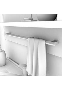 Gabinete De Banheiro 1 Gaveta 1 Porta Basculante Com Cuba E Espelheira Lírio Mgm Móveis Café/Off White