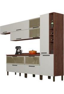 Cozinha Modulada 8 Peças Viv Concept C07 Off White/Nogueira - Kit´S Pa