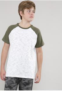 Camiseta Infantil Raglan Mescla Manga Curta Off White