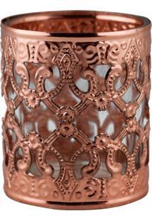 Castiçal De Metal Bronze E Vidro