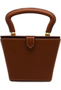 Staud Brown Sadie Mini Structured Leather Bag - Marrom