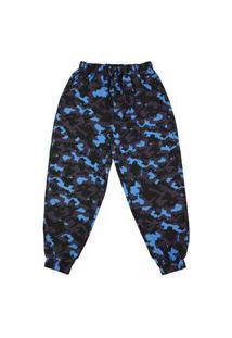 Calça Alkary Jogger Camuflada Preta E Azul