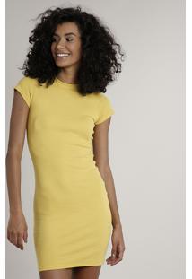 Vestido Feminino Básico Curto Manga Curta Amarelo