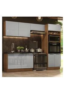 Cozinha Completa Madesa Lux 270001 Com Armário E Balcáo - Rustic/Cinza Cinza