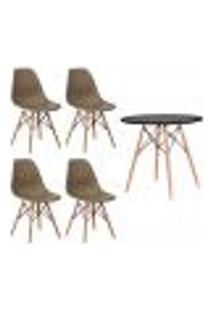 Conjunto 4 Cadeiras Eiffel Eames Nude + 1 Mesa Eames 80Cm Preta Base Madeira Sala Cozinha
