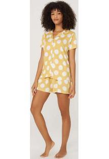 Pijama Feminino Curto Estampado Em Viscose Amarelo
