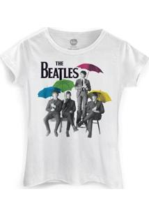 Camiseta Bandup! Feminina The Beatles Umbrella Colors - Feminino-Branco