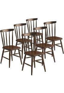 Cadeira Utis Em Madeira Maciça 6 Peças Castanho Acetinado - Urbe Móveis