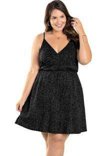 Vestido Plus Size Poá Preto Com Alças