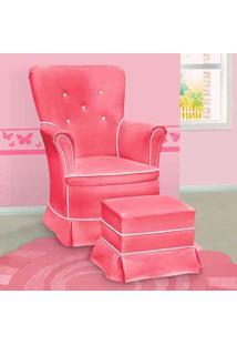 Poltrona Amamentação Sofia Fixa E Puff Rosa E Branca - Confortável