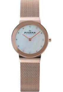 Relógio Skagen Bicolor Freja Feminino - Feminino-Bronze