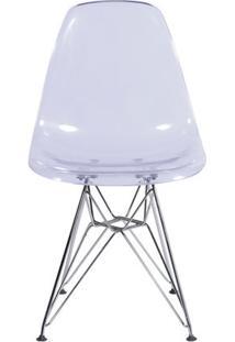 Cadeira Eiffel Design Base Cromada Assento Transparente
