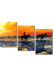 Quadro Painel Decorativo Cavaleiros Na Praia Ao Entardecer