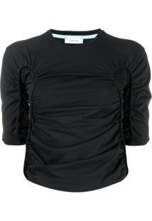 Mugler Blusa Cropped Com Drapeado - Preto