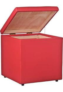 Puff Baú Decorativo Corino 40X40 Lymdecor Vermelho