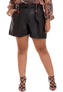Shorts Couro Laço Plus Size-52