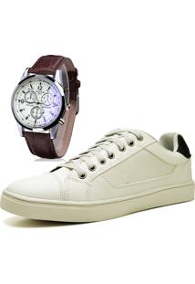 Sapatênis Sapato Casual Com Relógio Juilli Com Cadarço 04M Nude