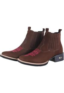 Bota Botina Feminina Texana Pessoni Boots & Shoes Couro Cano Curto Marrom