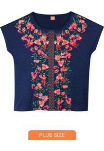 Blusa Azul Marinho Floral Em Meia Malha