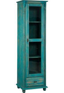 Torre Com Porta De Vidro E Lateral Em Madeira Azul Envelhecido