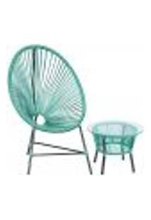 Cadeira De Área E Mesa Acapulco Bahamas Azul Turquesa Corda Sintetica (1 Unidade)