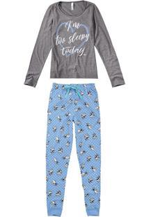 Pijama Longo Com Máscara Feminino