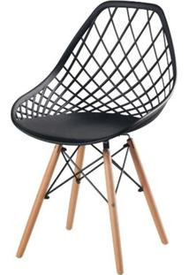 Cadeira Frank Preta Base Madeira - 50071 - Sun House