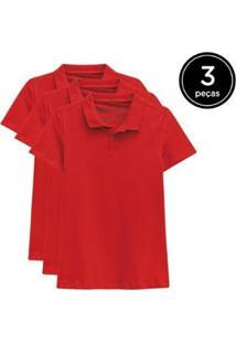 Kit 3 Camisas Polo Basicamente Feminino - Feminino