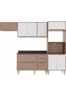 Cozinha Completa 5 Peças 9 Portas Calábria Multimóveis Nogueira/Branco Texturizado
