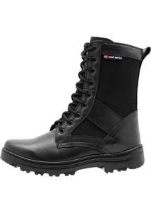 Coturno Militar Atron Shoes Extra Leve Couro E Lona Preto