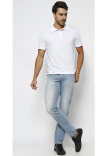 Jeans Skinny Estonado Com PuãDos & Bigodes - Azul- Ttuareg