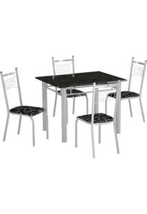 Conjunto De Mesa Genova Com 4 Cadeiras Lisboa Branco E Preto Floral