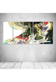 Quadro Decorativo - Art Girl Abstract - Composto De 5 Quadros - Multicolorido - Dafiti