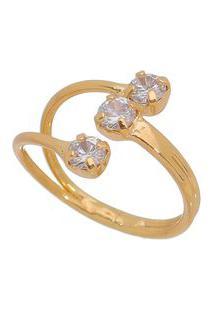 Anel Banhado A Ouro Com Zircônia- Incolor Dourado-Carolina Alcaide