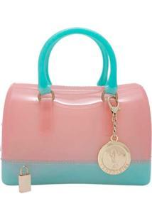 Bolsa Tiracolo Mini Candy Bag Rosa Com Turquesa Leopoldine