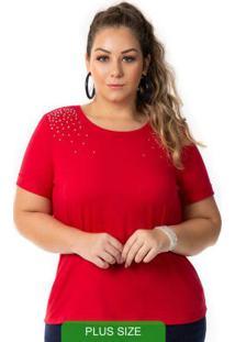 Blusa Básica Com Pedraria Vermelho