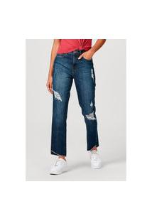 Calça Hering Em Jeans De Algodáo Destroyed Azul