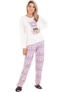 Pijama Longo Feminino Gatinha Adulto Luna Cuore